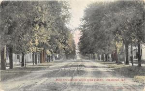 Pierceton Indiana~Main Street South @ Elm~Houses behind Trees~1908 Postcard