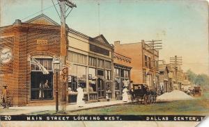 F35/ Dallas Center Iowa RPPC Postcard c1910 Main Street Stores Color