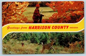 Postcard IN Banner Dual View Greetings From Harrison County Indiana Vintage O13