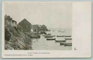 Marblehead Massachusetts~Tucker's Wharf~Boats in Water~Buildings Shore~c1905
