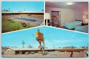 Tucumcari New Mexico~Sahara Sands Motel~Spring Horses @ Pool~Route 66~1950s Cars