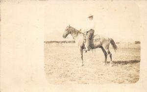F24/ Iowa Real Photo RPPC Postcard c1910 Tom Stinston Riding Horse
