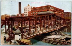 Chicago, Illinois Postcard MADISON STREET BRIDGE People Scene 1910 Cancel