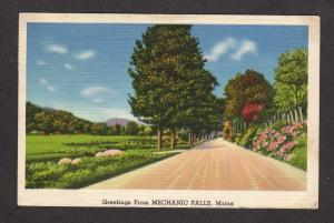 ME Greetings From Mechanics Falls Maine Linen Postcard Carte Postale