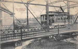 D62/ Columbus Pennsylvania Pa Postcard 1908 Trolley Car on Brodge Conductor