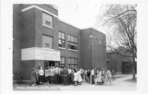 Scotland South Dakota~High School~Students Crowd Around Entrance~1950s RPPC