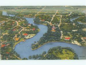 Linen AERIAL VIEW OF TOWN Fort Lauderdale Florida FL n3933