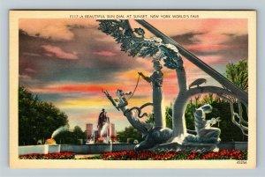 1939 New York World's Fair - A Beautiful Sun Dial at Sunset, Linen Postcard