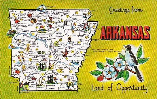 Arkansas Greetings From With Map