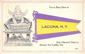 Am So Busy Here in Lacona New York~No Time to Answer~Wash Tub~1917 Pennant PC