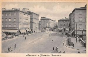 Livorno Tuscany Italy birds eye view town plaza business area antique pc Z21058