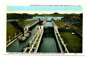 Panama - Canal Zone. Miraflores Locks looking toward Lake