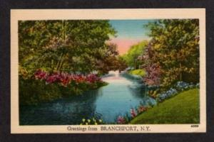 NEW YORK BRANCHPORT NY Greetings from Postcard Linen PC