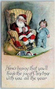 1910s SANTA CLAUS Postcard Here's Hoping That You'll Have the Joy of Christmas