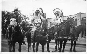 Billings MT Montana Indians on Horses Real Photo Postcard