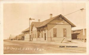 OAKLEY, KANSAS UNION PACIFIC TRAIN DEPOT-1917 RPPC REAL PHOTO POSTCARD