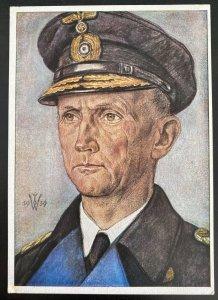 Mint Germany Rare Picture Postcard U Boat Submarine Admiral Donitz