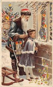 Hold To Light Santa Claus Postcard Old Vintage Christmas Post Card Hold To Li...