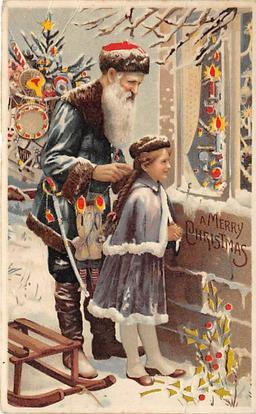 Hold To Light Santa Claus Postcard Old Vintage Christmas Post Card Hold To Li...