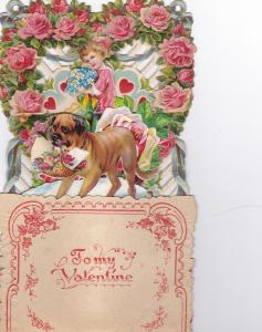 VALENTINE'S DAY, 1890s ; Pop-Up w/ Girl & Dog , Intact