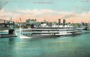 Albany Capitol Beyond Arriving Steamer Hendrick Hudson~Hudson Rvr~c1910 Postcard