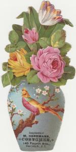 Victorian Die Cut Trade Card Flower Vase - Herrman Costumer of NY City
