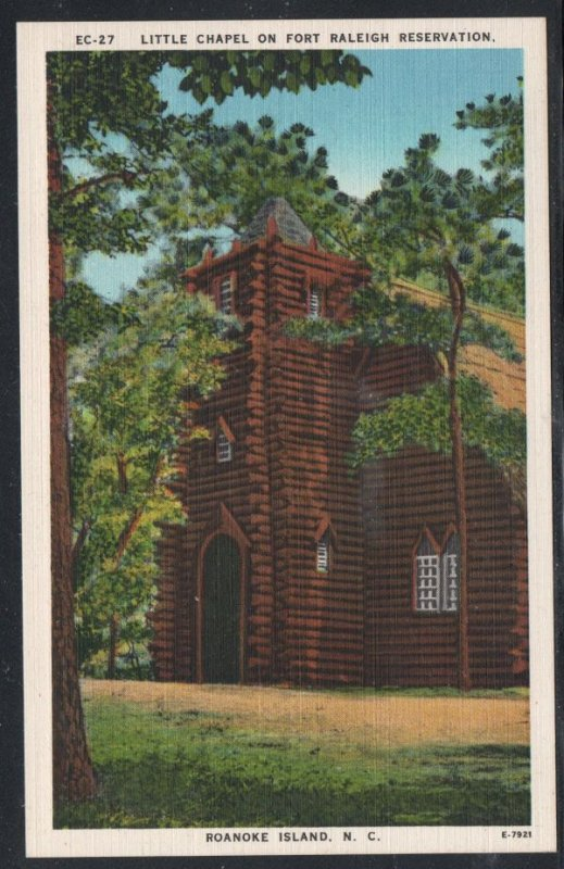 North Carolina colour PC Little Chapel Fort Raleigh Reservation unused