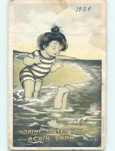 Pre-Linen risque GIRL AT THE BEACH WATCH HIS FRIEND SINKING HL3747