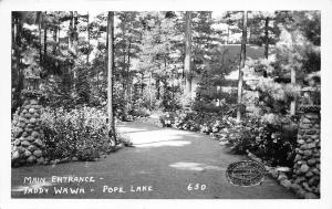 Waupaca Wisconsin~Chain O Lakes Pope Lake~Taddy WaWa Lodge Entrance~1950s RPPC