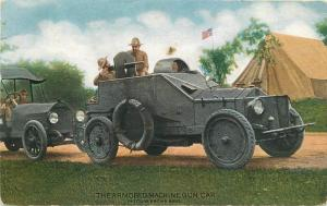 American Colotype Army C-1918 Military Postcard Armored Machine Gun Car 13022