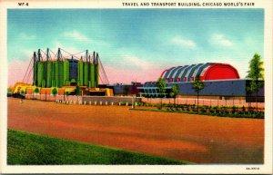 Vtg Linen Postcard Travel & Transport Building Chicago World's Fair 1933