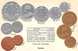 Coin Postcard, Old Vintage Antique Canada