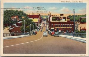 Water Street Augusta Maine ME c1967 Linen Postcard E42