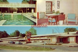 SOUTHERNAIRE MOTEL HATTIESBURG, MS Mid-50's autos, 3 views incl. guests at pool