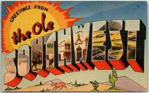1940s The Ole SOUTHWEST Large Letter Postcard TICHNOR Linen c1950s Unused