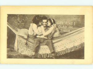 Pre-Linen Risque MAN IN HAMMOCK WITH TWO SEXY GIRLS AB8237