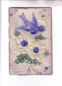 Embossed, Layered, Shiny Silkscreen, Blue Bird, Sincere Wishes