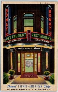 Washington DC Postcard BONAT FRENCH-AMERICAN CAFÉ Front View Linen 1951 Cancel