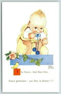 Mabel Lucie Atwell~The Future: God Bless Him~Mothers Hands Hold Up Baby~Blanket
