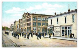 1912 Marching Band, 2nd St, Crookston, MN Postcard