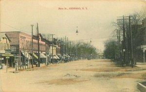 C-1910 Livingston County New York Main Street hand colored Postcard 20-9940