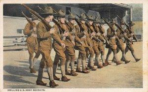 Drilling U.S. Army Recruits, Early Postcard, Unused, International Film Service