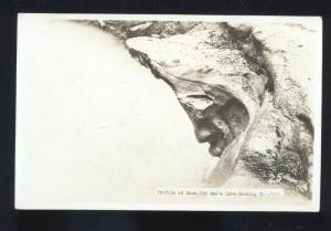 RPPC HOCKING COUNTY OHIO PROFILE OF FACE OLD MAN'S CAVE REAL PHOTO POSTCARD