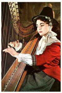Welsh Woman National Costume w/ Harp Postcard