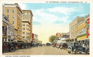 F29/ St Petersburg Florida Postcard c1915 Central Avenue Looking West Stores 3
