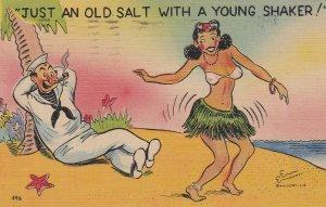 Sailor watching a Hula Dancer, Just An Old Salt With A Young Shaker!, PU-1946