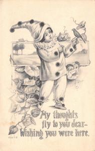 Artist~Girl in Clown Suit has Bird on Finger~Bird on Finger~Morning Glories~G&B