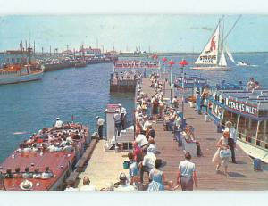 Pre-1980 FISHING PARTY BOAT & DOCK AT STARNS INLET Atlantic City NJ Q3642