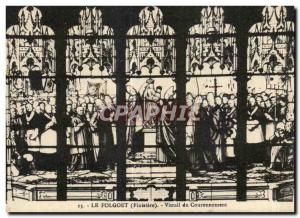 Postcard The Old Folgoet Finistere Stained glass Coronation