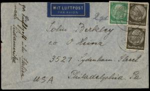 3rd Reich Germany 1941 Airmail Cover to USA 74769